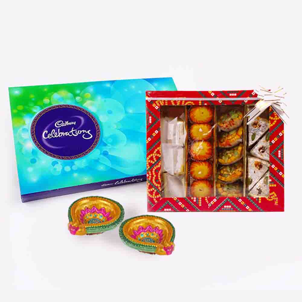 Floral Hampers-Cadbury Celebration Chocolate Pack with Assorted Sweet and Diwali Diya