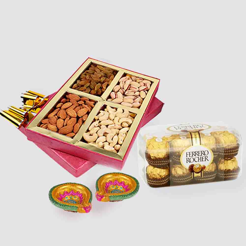 Assorted Dry fruits with Ferrero Rocher Chocolates and Diwali Diya