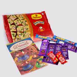 Floral Hampers-Soan Papdi with 10 Assorted Indian Chocolates Bar and Diwali Card