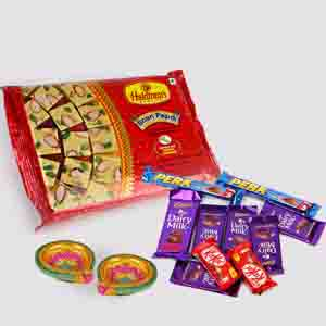Floral Hampers-Soan Papdi with 10 Assorted Indian Chocolates Bar and Diwali Diya