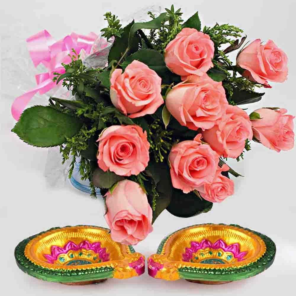 Diwali Roses with Diya Hamper