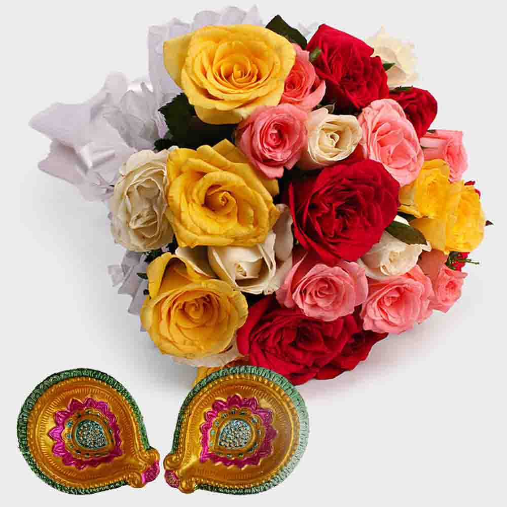 Roses with Diwali Diya