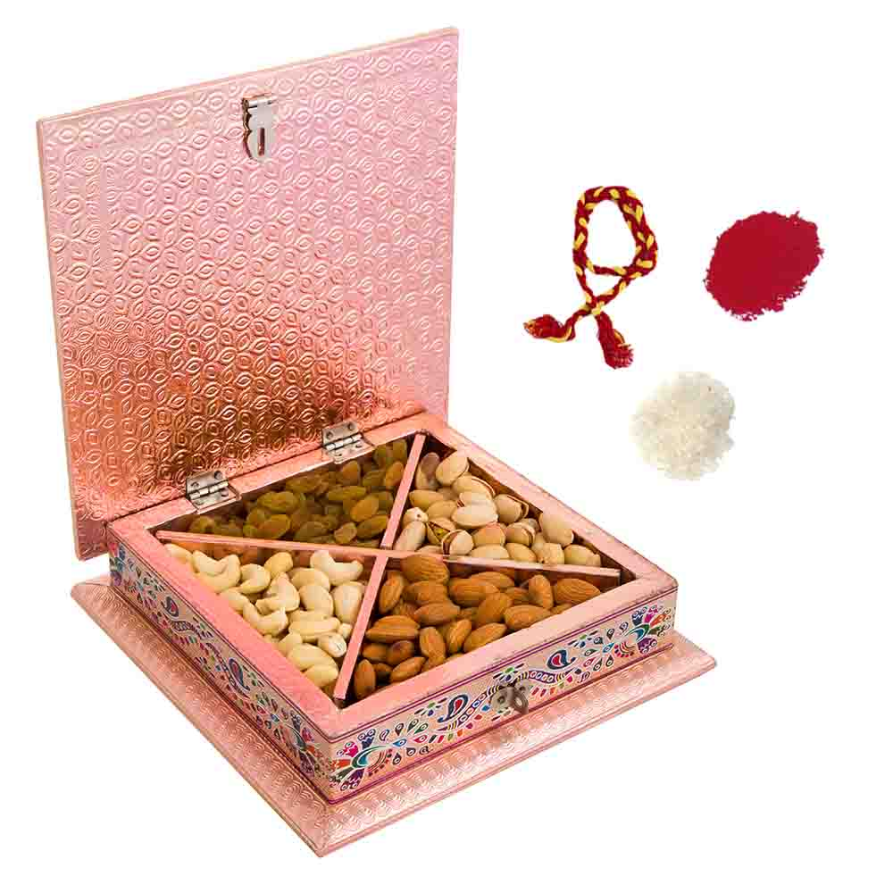 Intricate Meenakari Traditional Dry Fruit Gift Box for Bhai Dooj