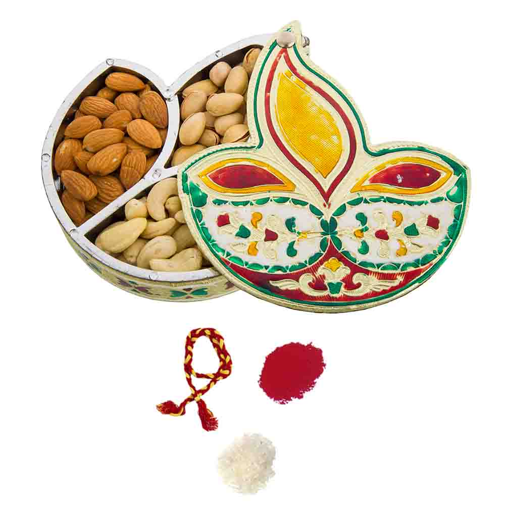Golden Meenakari Diya Dryfruits Gift Box for Bhai Dooj