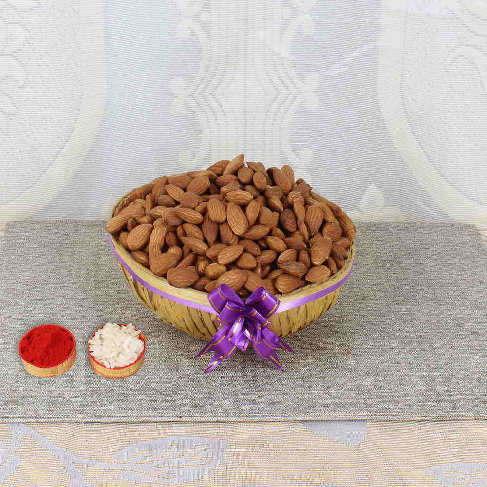 Bhai Dooj Basket of Crunchy Almonds and Tikka