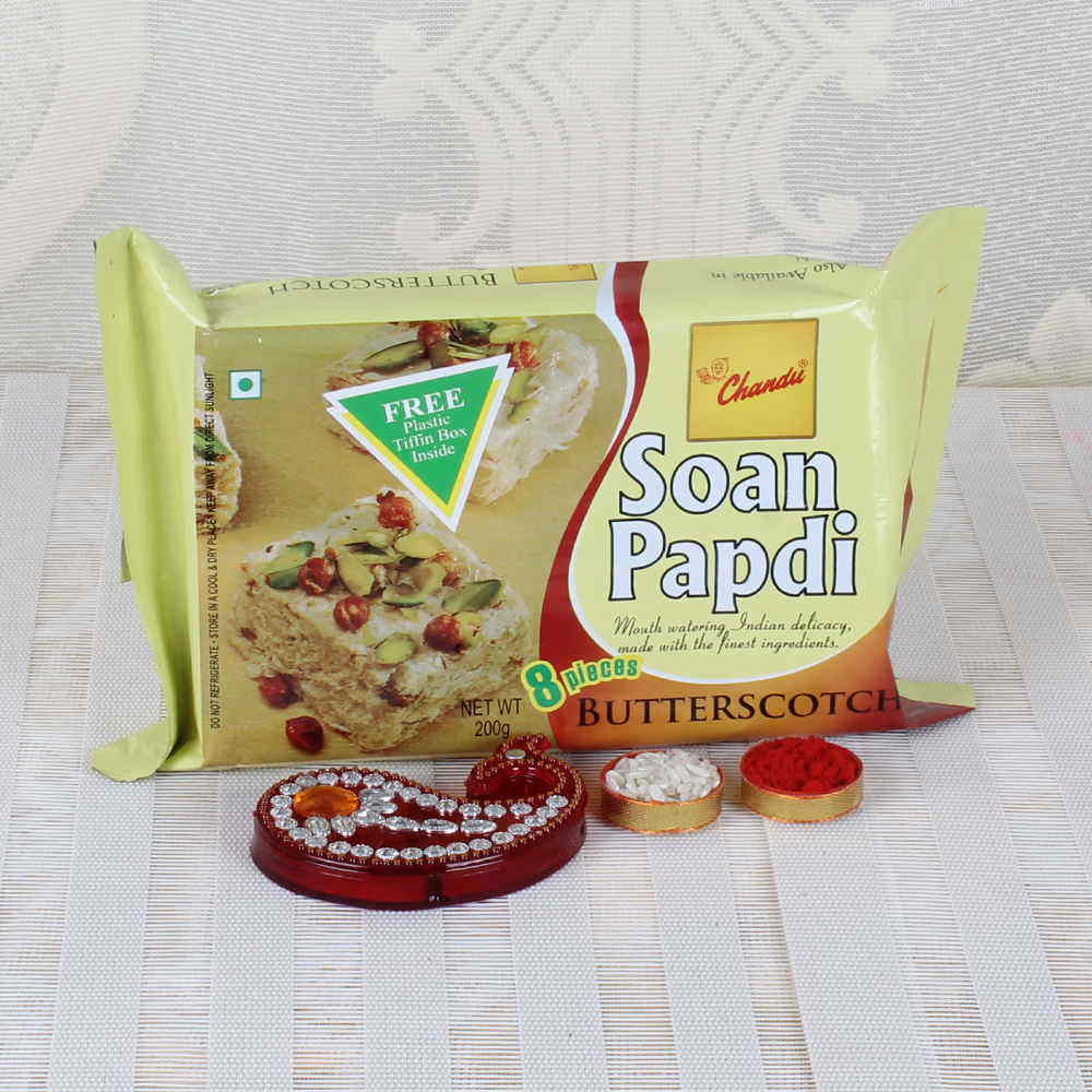 Butterscotch Soan Papdi Sweets with Bhai Dooj Tikka