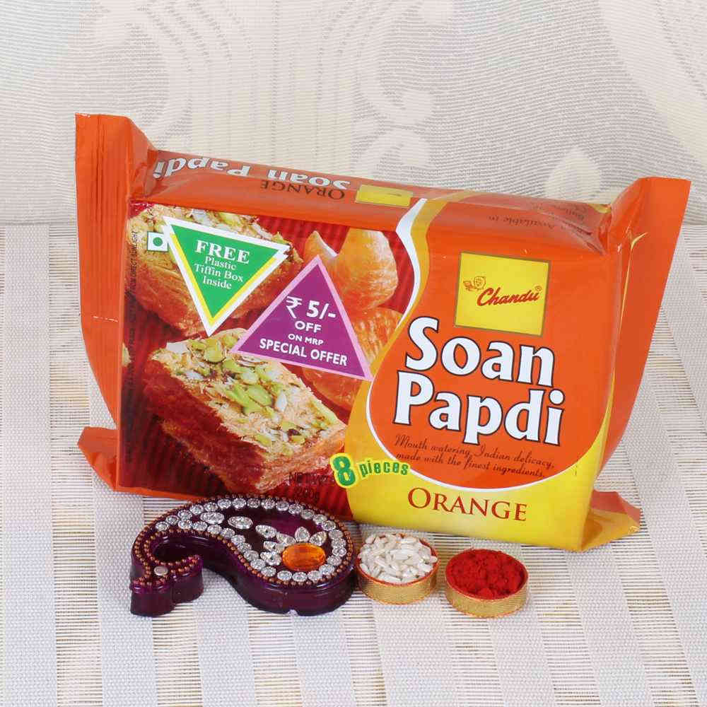 Orange Soan Papdi Sweets with Bhai Dooj Tikka