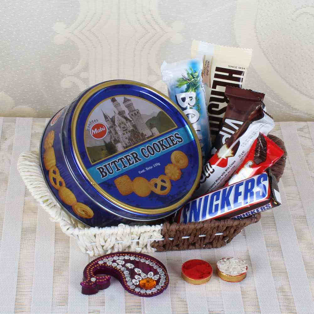 Bhaidooj Gift Basket of Cookies and Chocolates