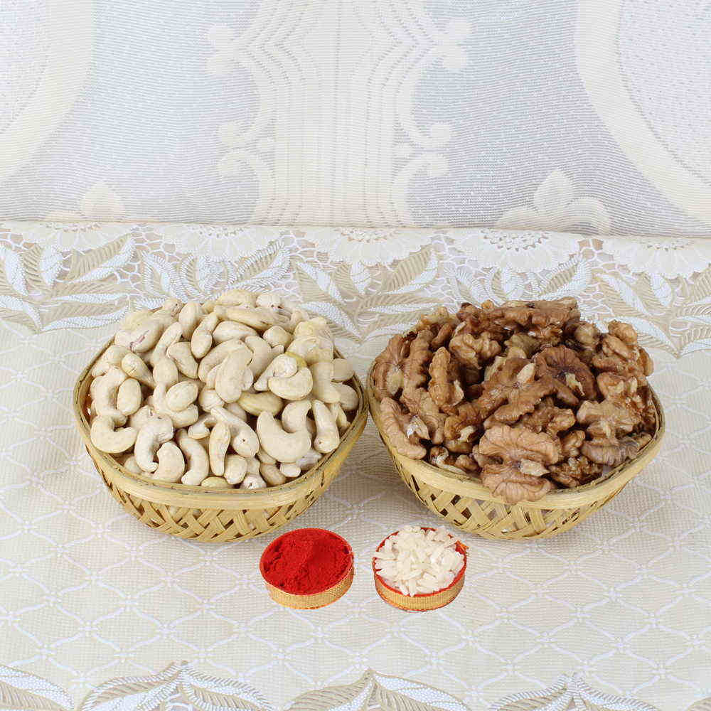 Bhai Dooj Gift Basket of Cashew and Walnut