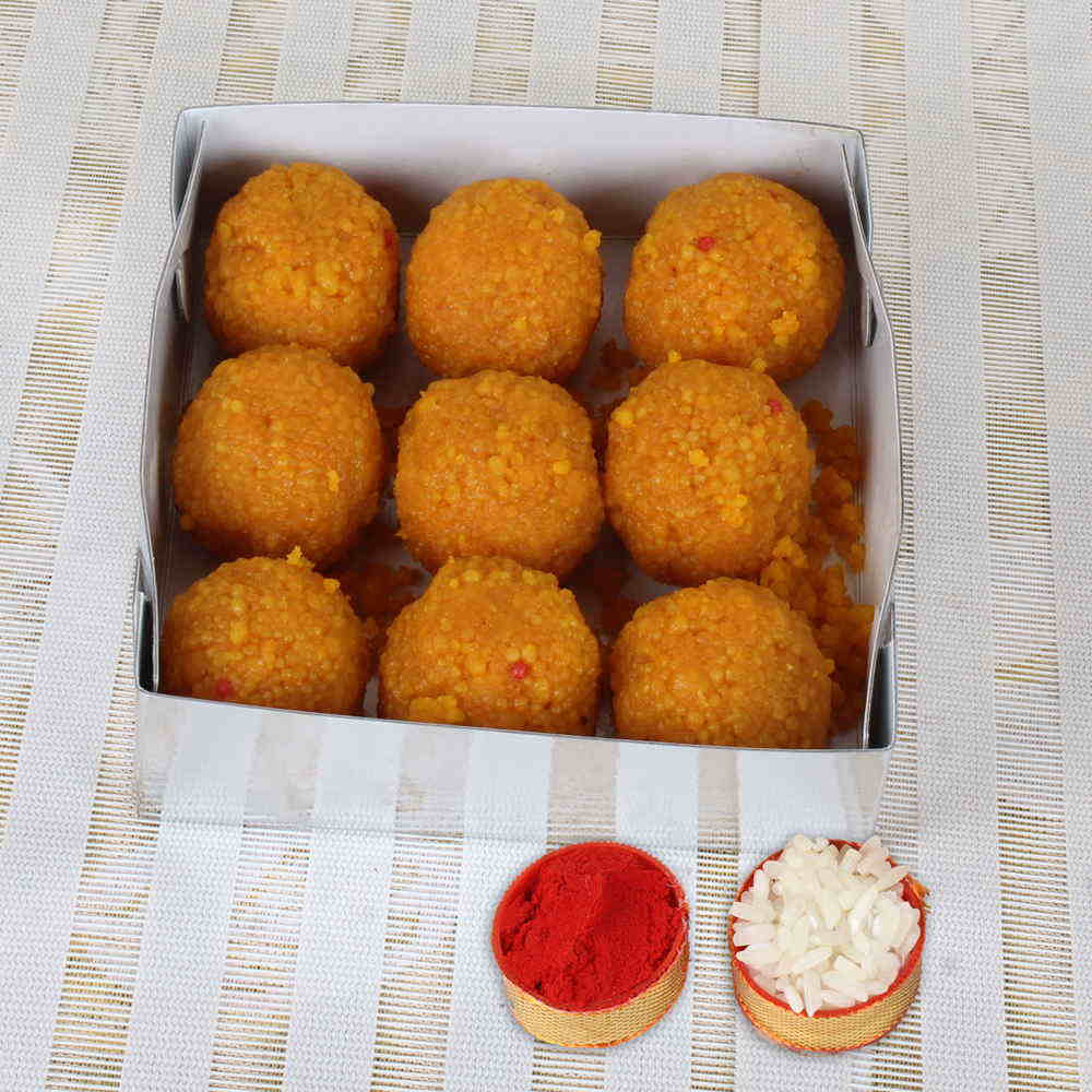 Box of Motichur Ladoo for Sweet Bhai