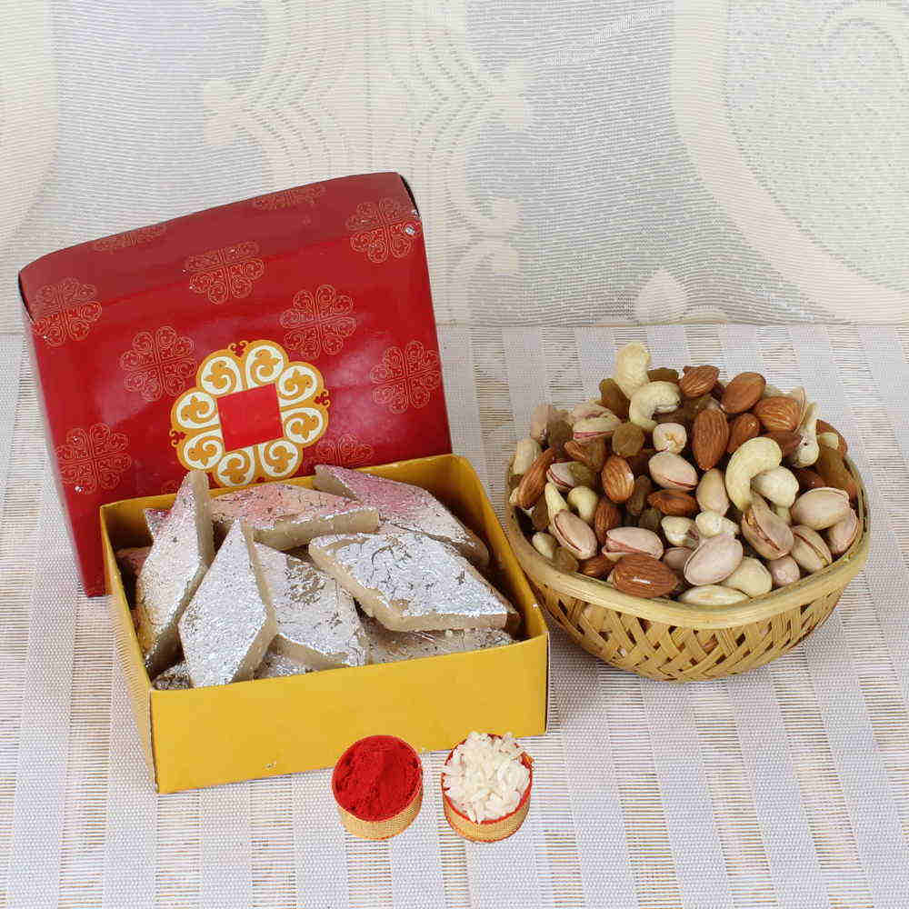 Same Day Gift Combo of Dry fruits and Kaju Katli