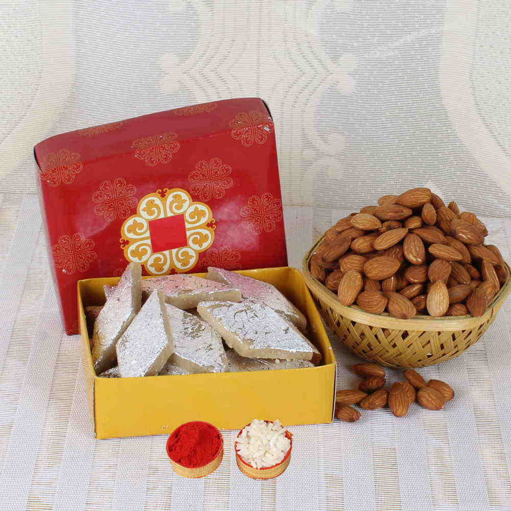 Bhai Dooj Gift of Almond and Kaju Sweet