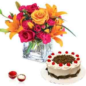 Flowers with Chocolates-Bhai Dooj Brightfull Flower Vase with Black Forest Cake
