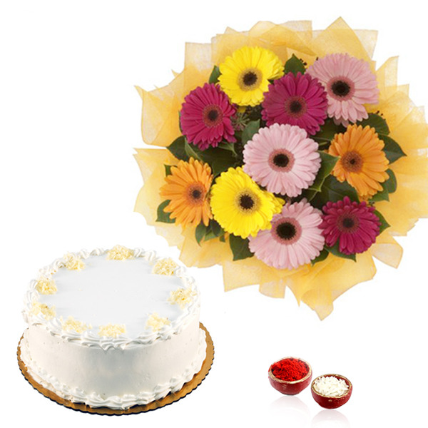 Mix Gerberas with Vanilla Cake for Bhai Dooj