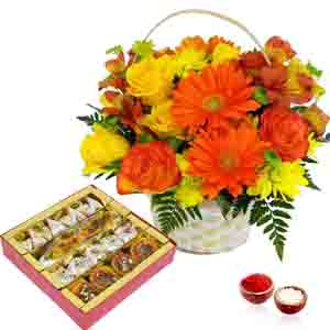 Flowers and Mithai-Bhai Dooj Mix Flowers and Assorted Sweets