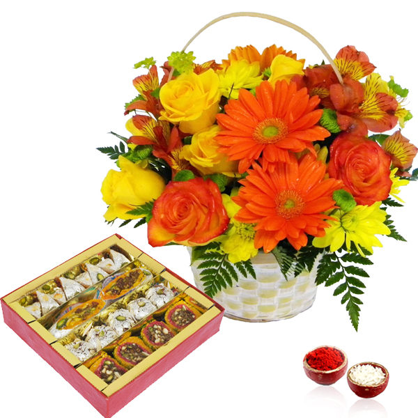 Bhai Dooj Mix Flowers and Assorted Sweets