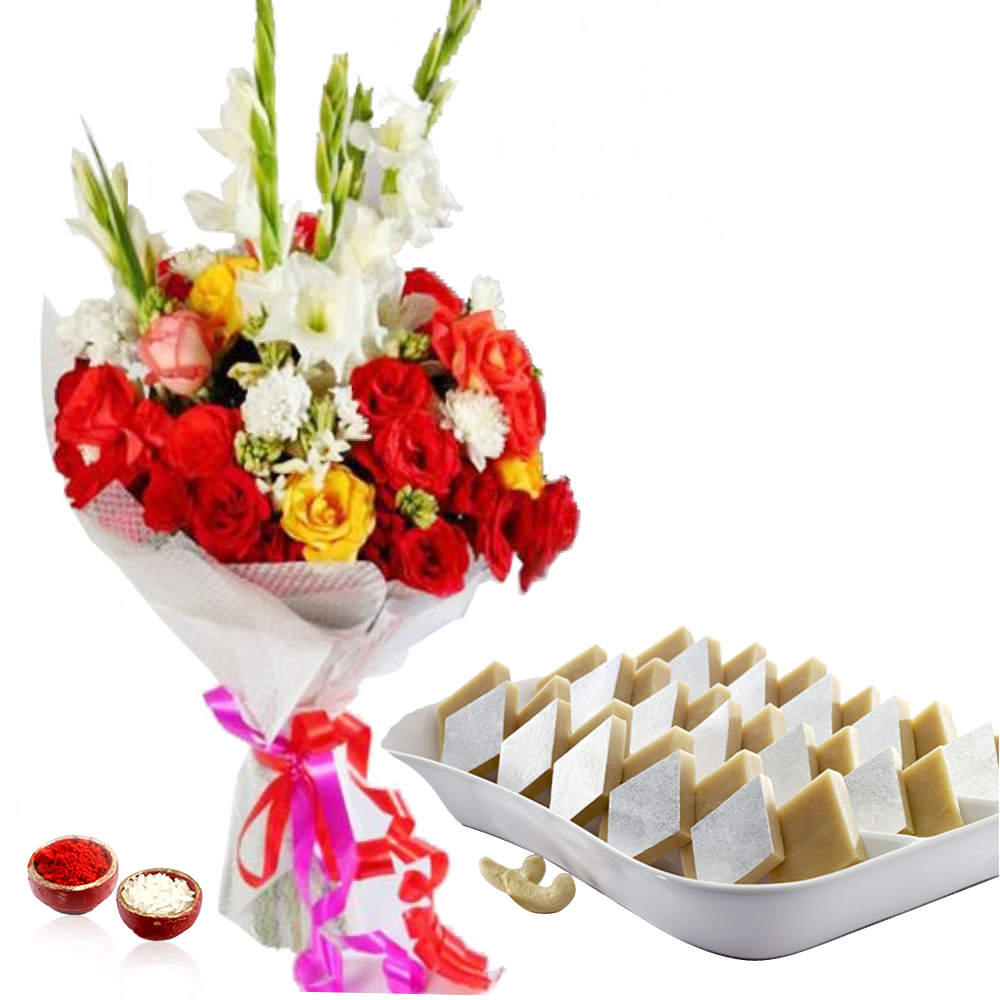 Lovely Roses & Glads Bouquet with Kaju Katli for Bhai Dooj