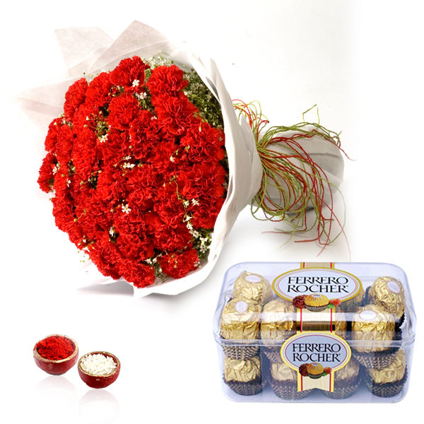 Flowers with Chocolates-Red Carnation Bouquet & Rocher Chocolate for Bhai Dooj
