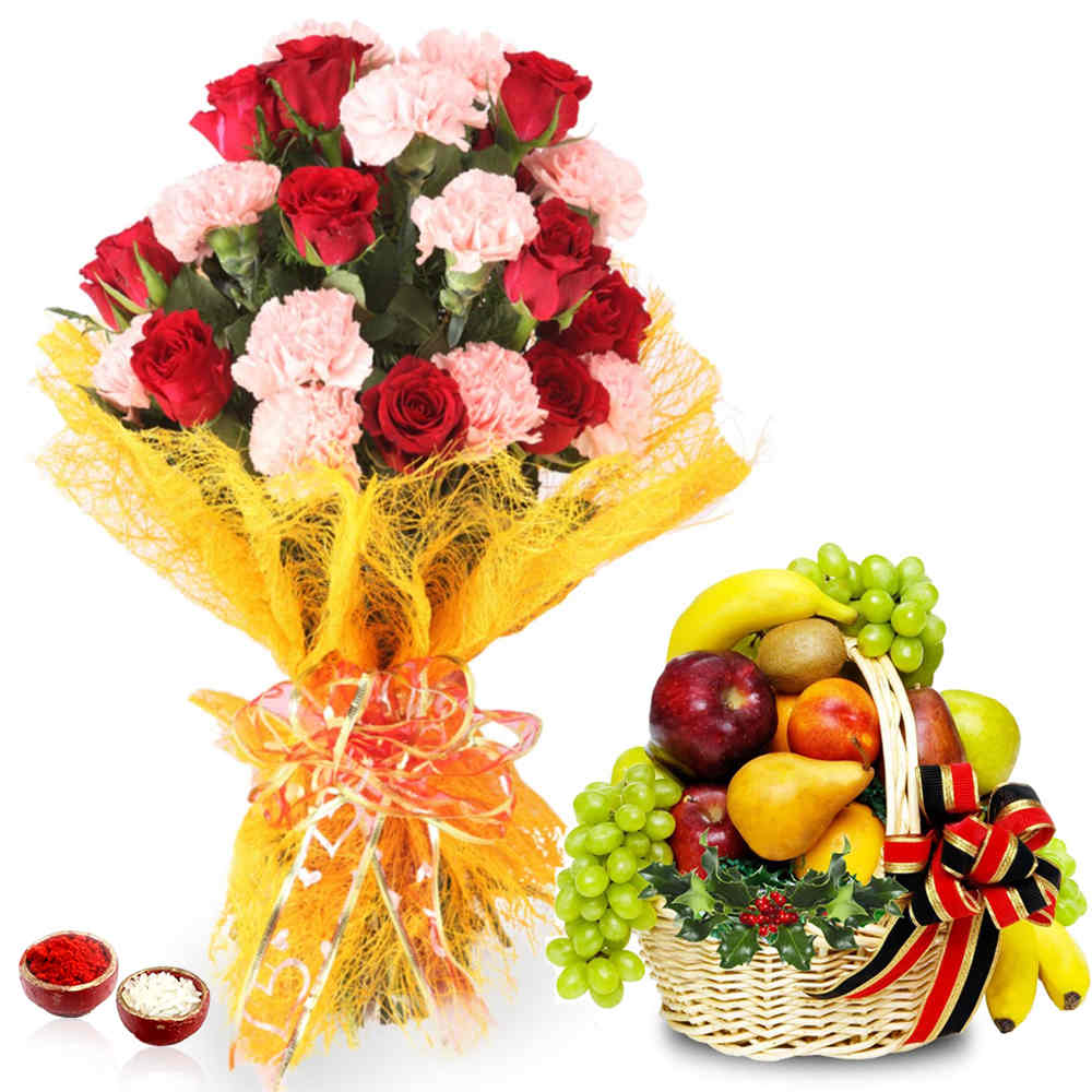 Bhai Dooj Roses and Carnation Bouquet with Fruits Basket