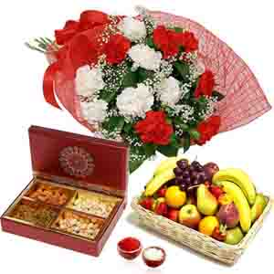 Floral Hampers-Carnation Bouquet with Manifold Fruits & Dry Fruits for Bhai Dooj