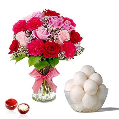 Bhai Dooj Pink Shaded Flowers in Vase with Rasgulla Sweets