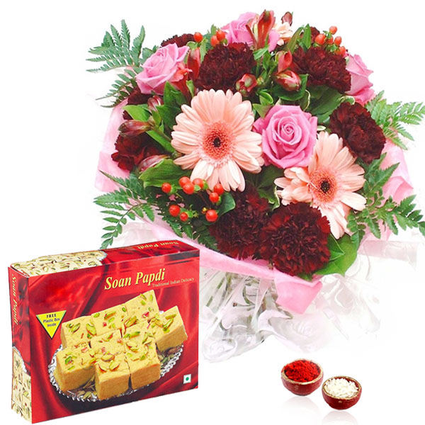 Mix Flowers Bouquet with Soan Papdi Box Bhai Dooj Hamper