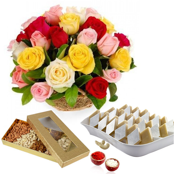 Bhai Dooj Beautiful Roses Arrangement with Kaju Katli and Dry Fuits.