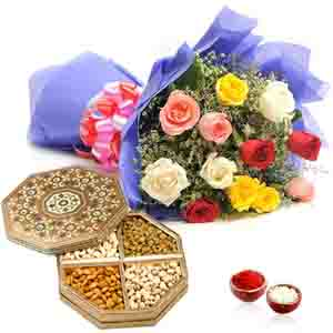 Flowers and Mithai-Roses Bouquet with Dry Fruits Box for Bhai Dooj