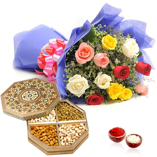 Roses Bouquet with Dry Fruits Box for Bhai Dooj