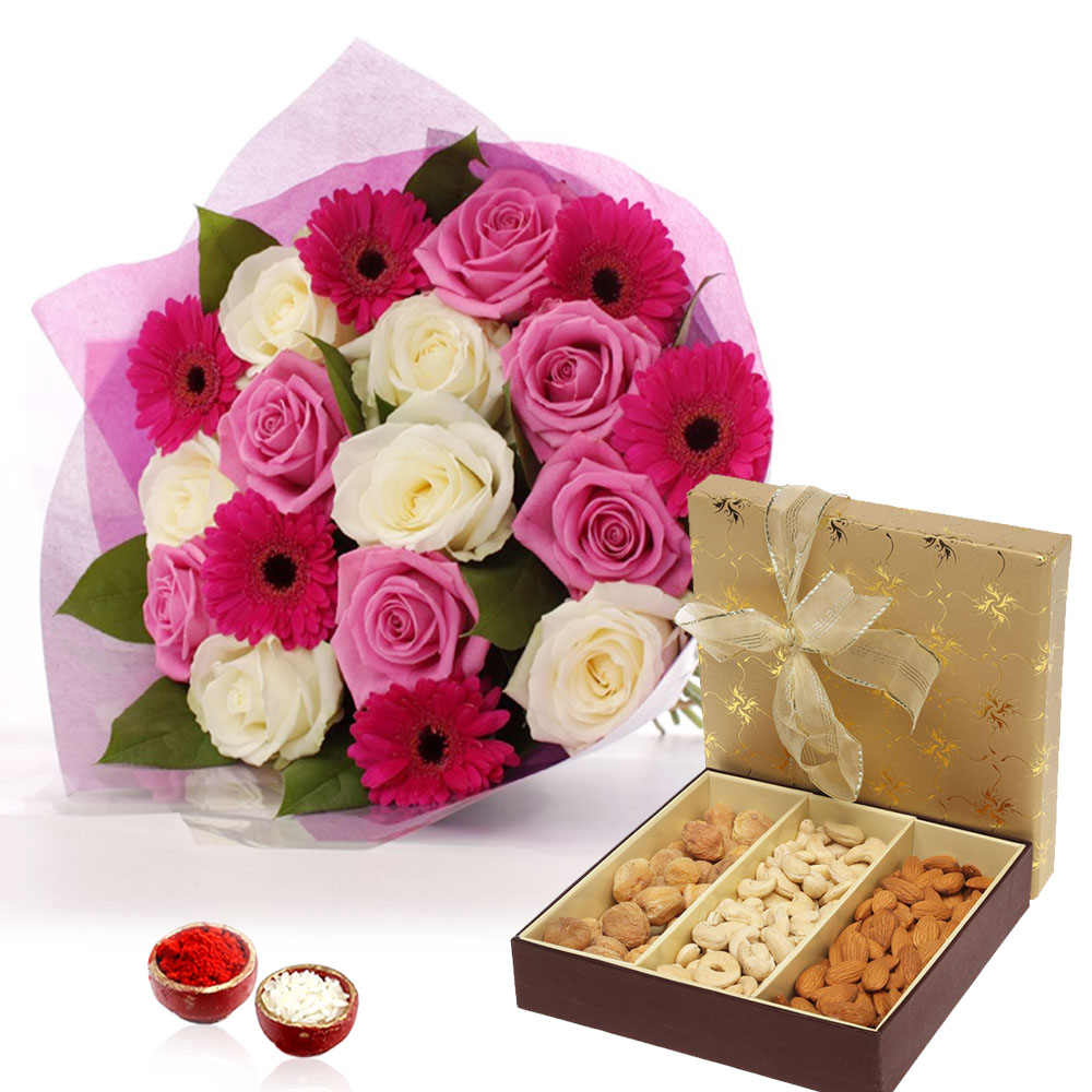 Bhai Dooj Gift for Roses and Gerberas Bouquet with Dry Fruits Box