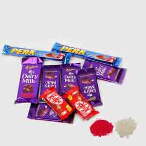 Flowers with Chocolates-Indian Assorted Chocolates Bhai Dooj Combo