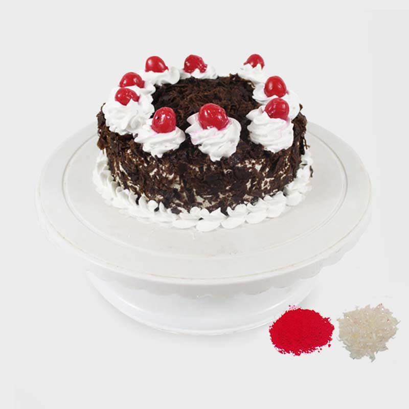 1/2 Kg Round Black Forest Cake For Bhaidooj