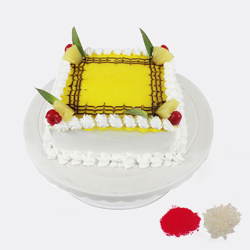 Square Pineapple Cake For Bhaidooj