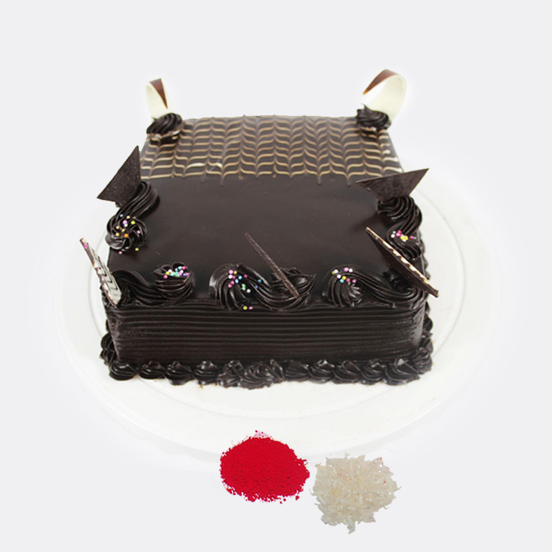 Square Chocolate Cake For Bhaidooj