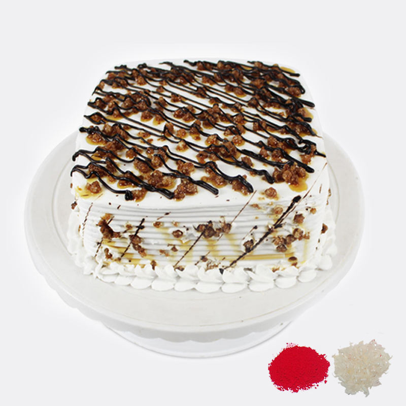 Square Butterscotch Cake For Bhaidooj