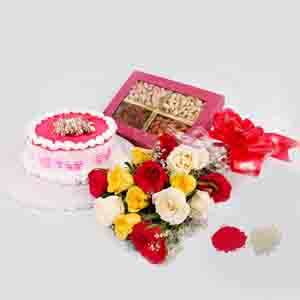 Floral Hampers-Trio Roses with Eggless Cake & Dry Fruit For Bhai dooj