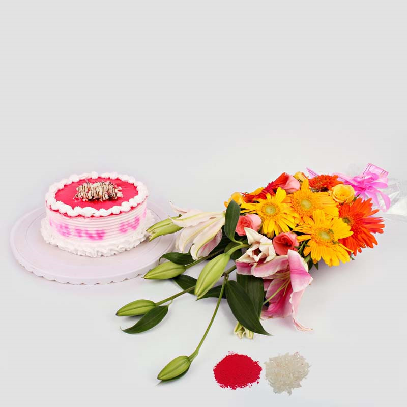 Exotic Flower Bouquet with Strawberry Cake for Brother