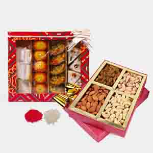 Floral Hampers-Bhai Dooj For Assorted Dry Fruits and Sweets in a Box