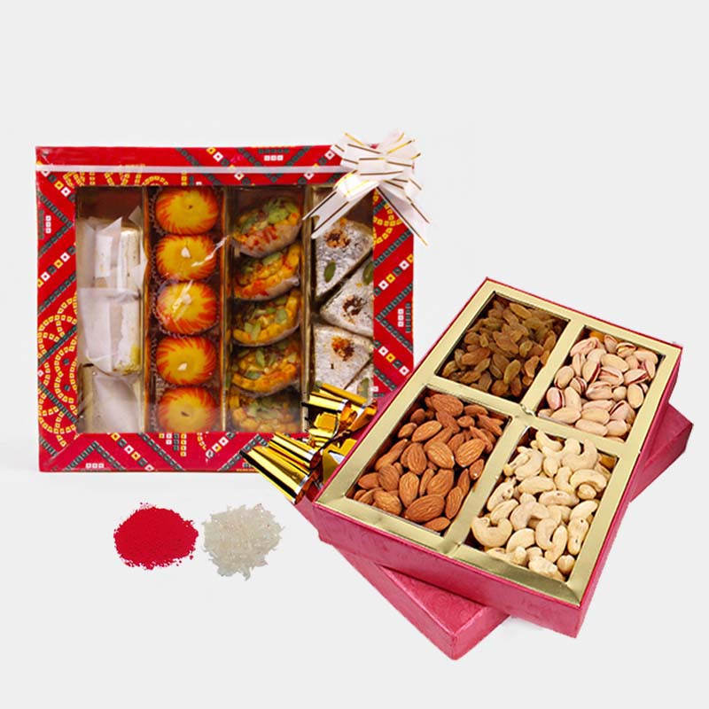 Bhai Dooj For Assorted Dry Fruits and Sweets in a Box