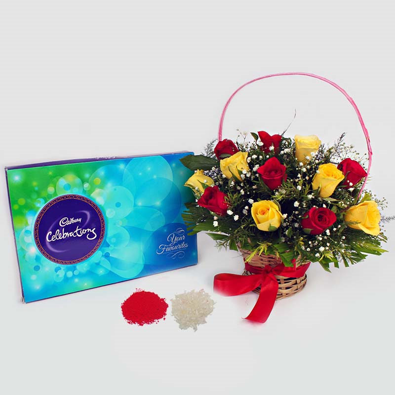 Roses with Cadbury Celebration Bhai Dooj Combo