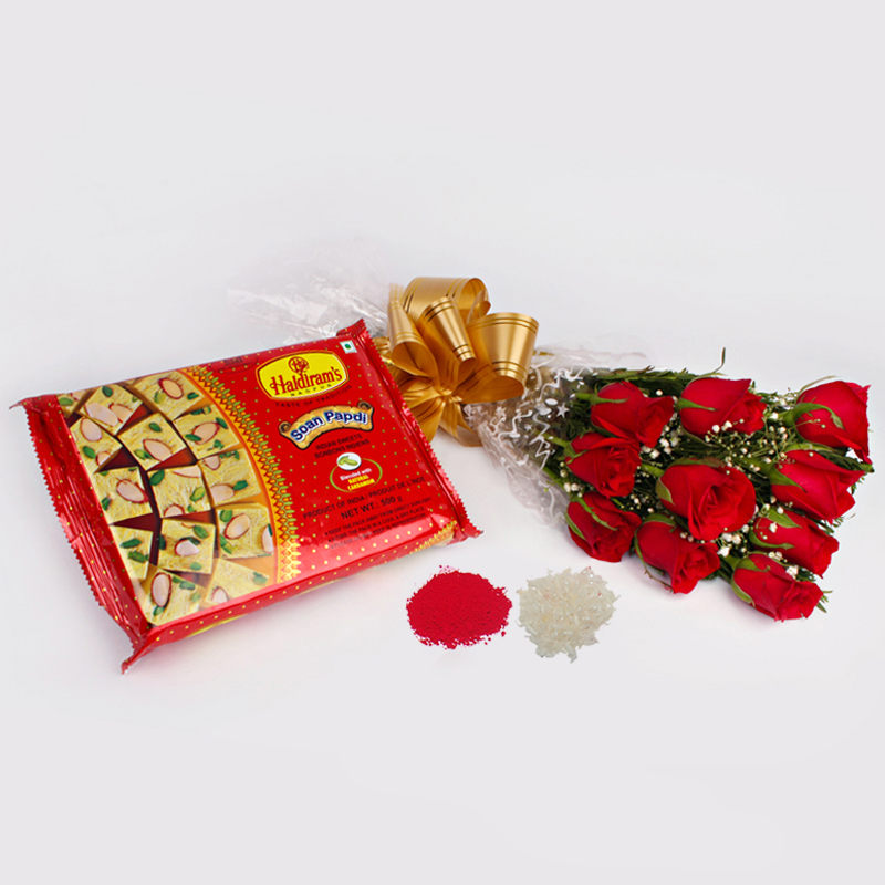 Flowers and Mithai-10 Red Roses with Soan Papdi for Bhai Dooj Gift