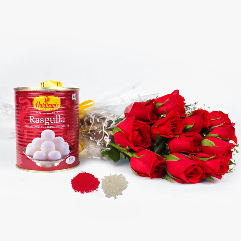 12 Red Roses Bouquet with Rasgulla Sweets for Bhau-Beej