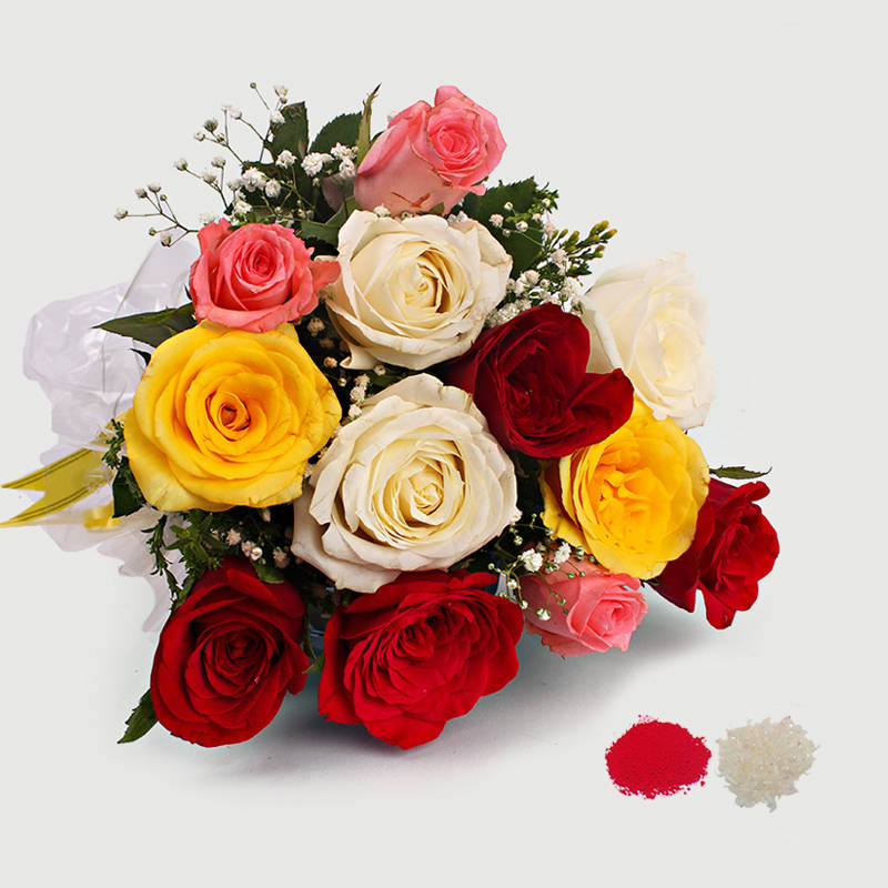 12 Multi Color Roses Bouquet for Bhaidooj Gift