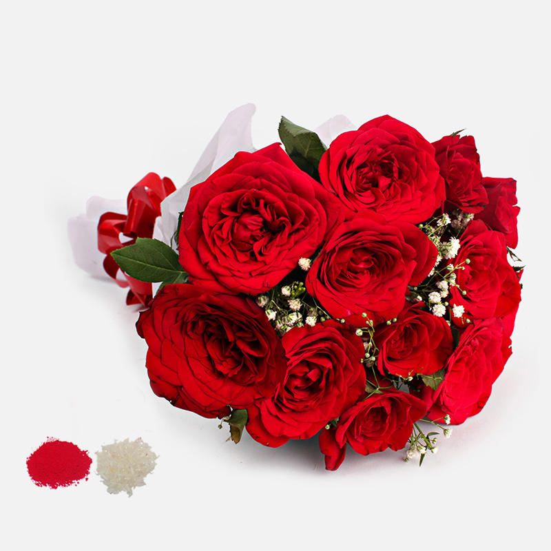 12 Red Roses Bouquet for Bhaidooj Gift
