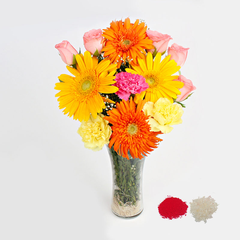 Mix Flowers in a Glass Vase for Bhaidooj Gift