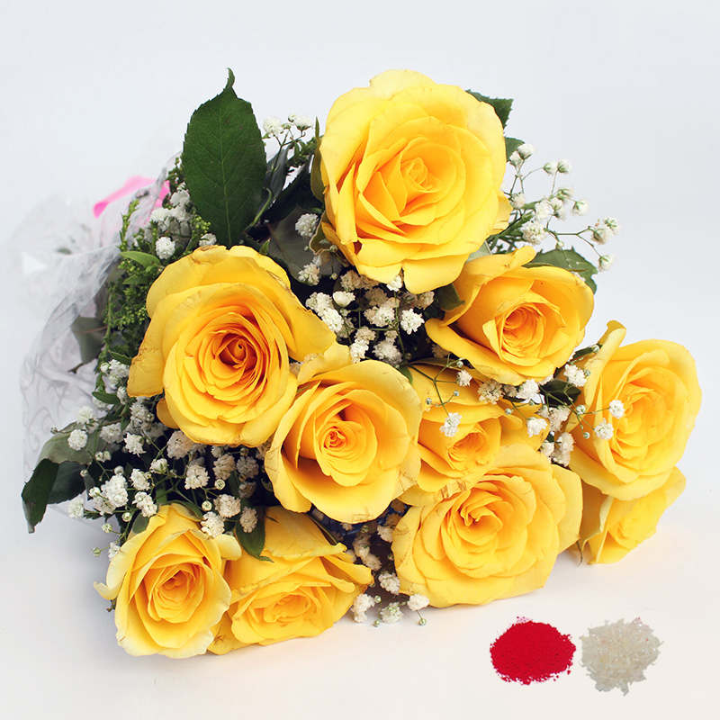 Bhai Dooj Gift of 10 Yellow Color Roses Bouquet