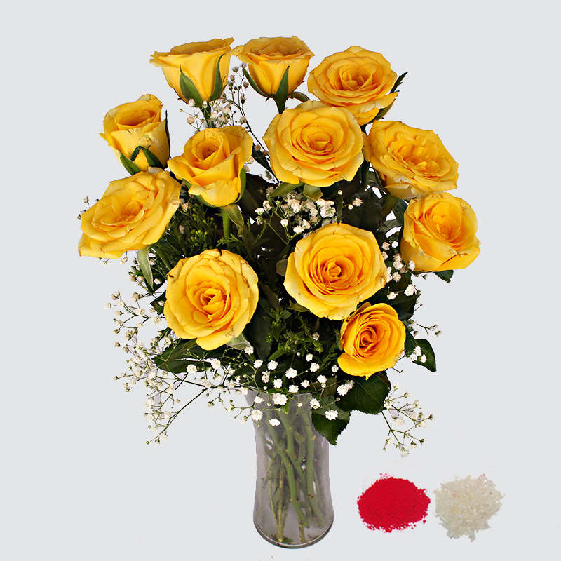 Yellow Roses in a Glass Vase for Bhaidooj
