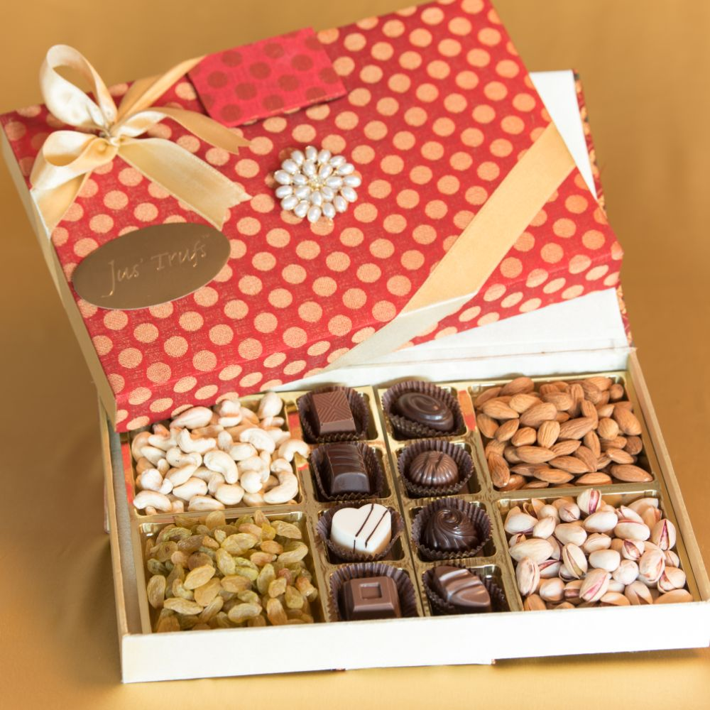 Designer Brocade Box with Truffles and Dry Fruits