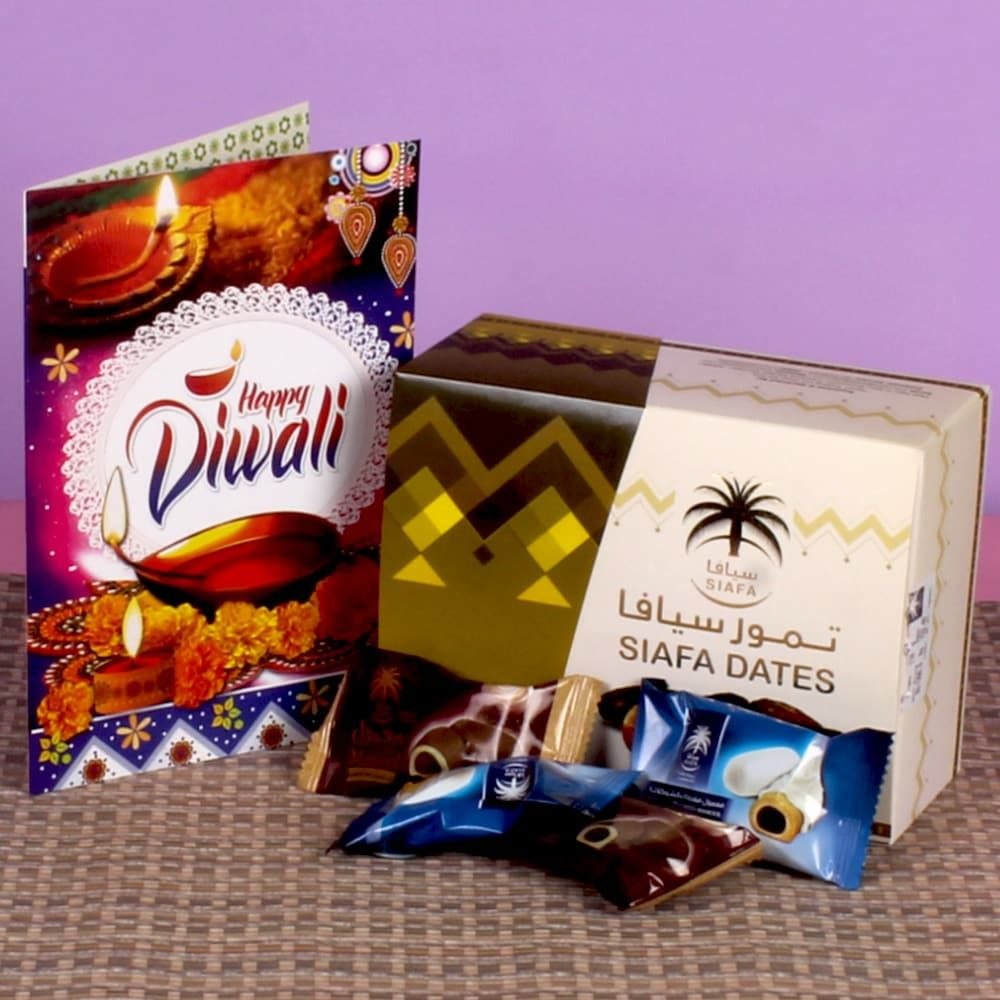 Diwali Gift of Chocolate Dates Box with Greeting Card