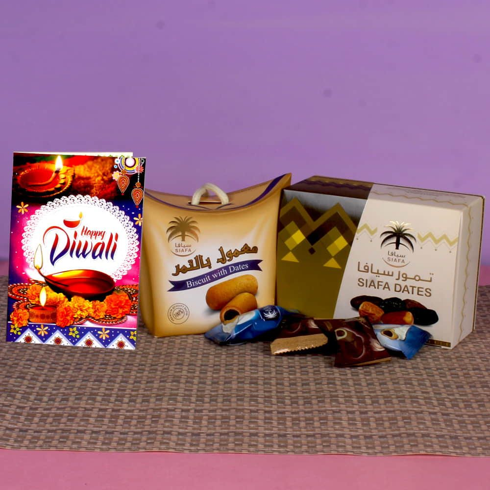 Diwali Hamper of Choco Dates and Biscuit Dates with Greeting Card